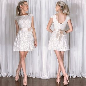 Ivory Cream Lace Dainty Modest Boho Mini Dress